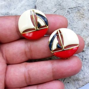 NOS Vintage Gold Tone & Enamel Sailboat Earrings